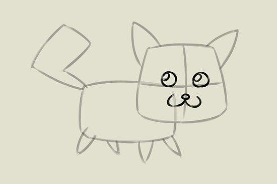 мультяшный котенок шаг 4