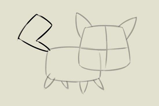 мультяшный котенок шаг 3