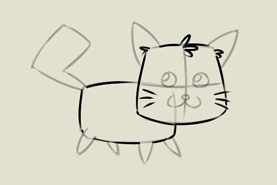 мультяшный котенок шаг 5